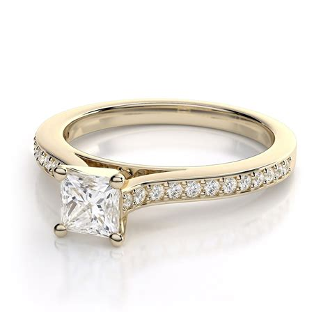 princess cut engagement rings  yellow stones