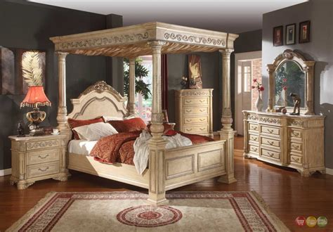 Kamella Antique White Traditional King Poster Canopy Bed