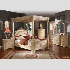 Kamella Antique White Traditional King Poster Canopy Bed 4