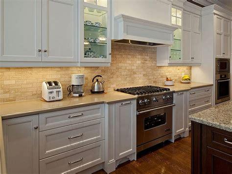 Gray Mosaic Tile Backsplash Hardwood Kitchen Cabinets