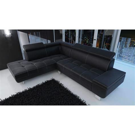 Canapé D'angle Moderne Daylon Simili Cuir Noir Et Coutures