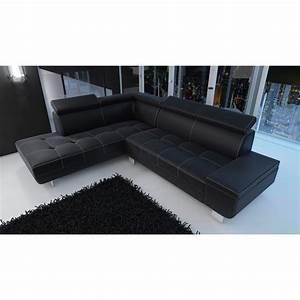 Canape d39angle moderne daylon simili cuir noir et coutures for Canape cuir noir moderne
