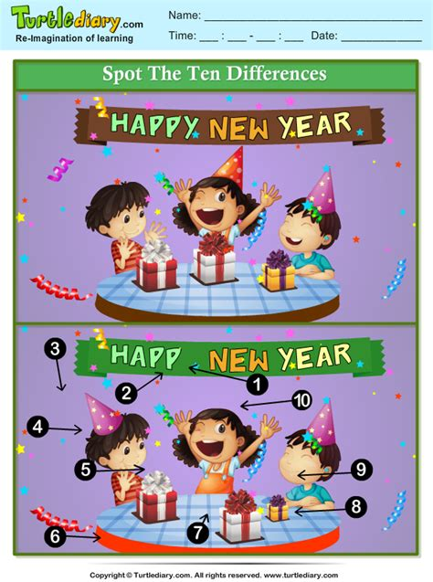 spot  differences  year party worksheet turtle diary