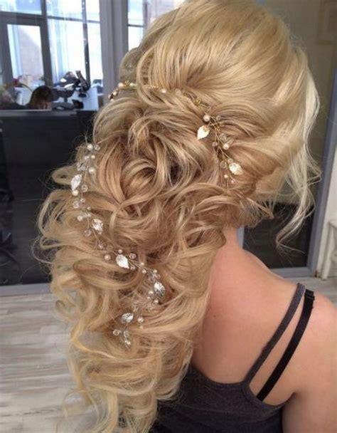 romantic wedding hairstyles  long hair   puff