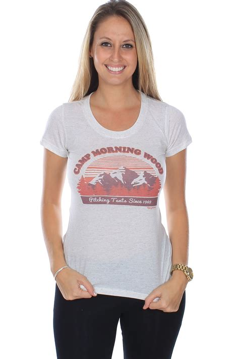 Women Camping Morning Wood Tee Tipsy Elves