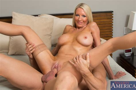 Slim Yet Busty cougar In Sheer Nylons Seduces A Cute Delivery Boy
