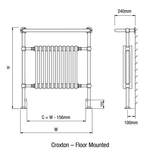 Floor Mounted Code by Dq Heating Croxton Chrome Towel Rail 509 X 956mm Floor