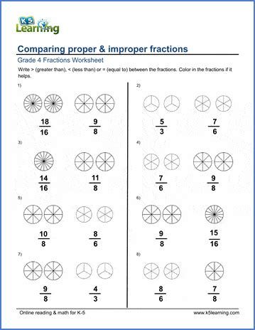grade  math worksheets comparing proper  improper
