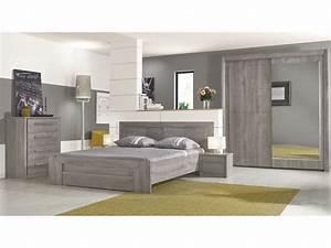 lit 160x200 cm tiroir eden coloris chene gris vente de With chambre adulte complete conforama