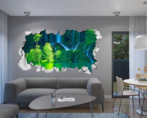 adesivi murali verde cascata 3d adesivo da parete un