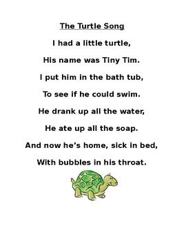 He caught the mosquito, he caught the flea. Turtle Song by Sarah Senden | Teachers Pay Teachers