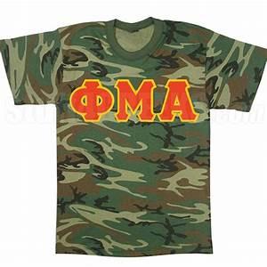 phi mu alpha greek letter t shirt woodland camoflauge With camo sorority letters