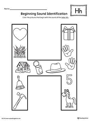 color that starts with h letter h beginning sound color pictures worksheet
