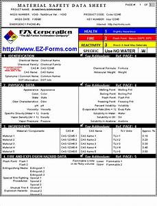 msds ez forms msds material safety data sheet tm With how to create msds