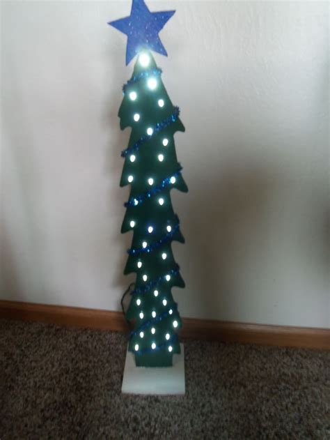 led lighted wooden tree crafts diy