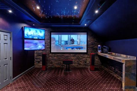 media room  starlit ceiling traditional home