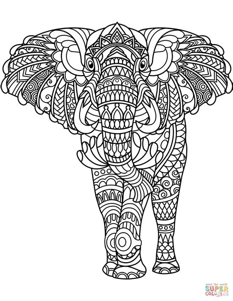 Coloring Zentangle by Elephant Zentangle Coloring Page Free Printable Coloring
