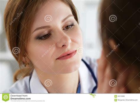 Endocrinologist Examine Thyroid Woman Stock Image