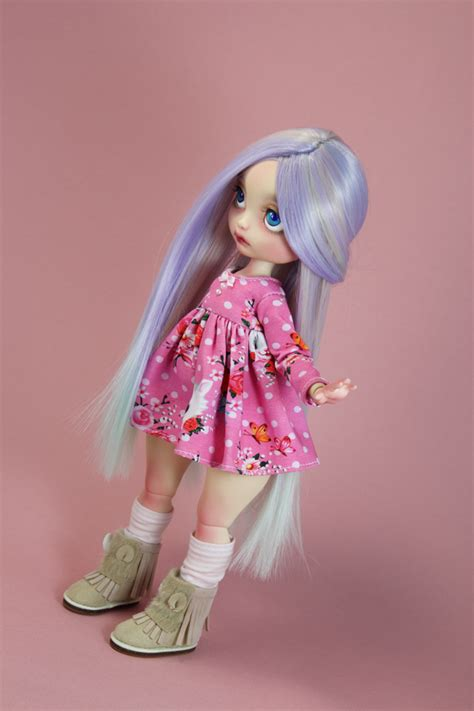 Poulpy Ooak Long Wig Light Purple Hair With Pastel