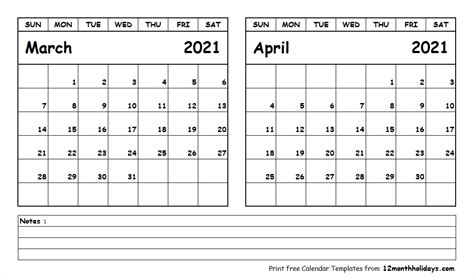 printable blank  month calendar march april  template