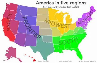 Five Regions States Divided United Map Into