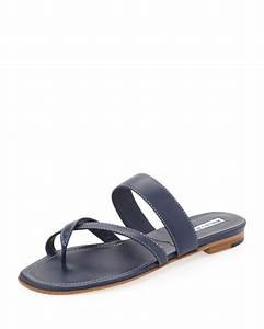 Manolo Blahnik Susa Flat Leather Sandal in Blue (NAVY) | Lyst