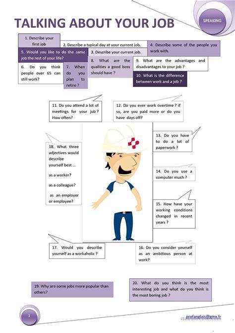 talking   job worksheet  esl printable