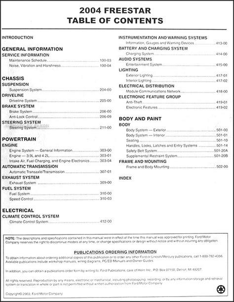 ford freestar mercury monterey repair shop manual