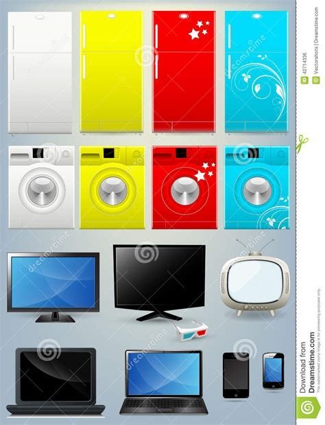 Fridge, Washing Machine, TV, Laptop And Mobile Vectors