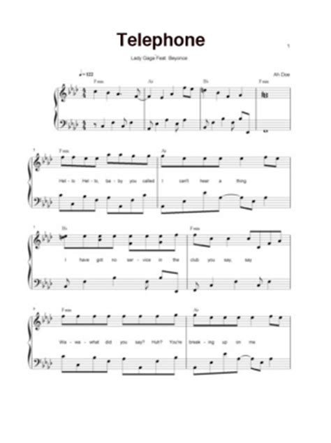 lady gaga telephone piano sheet