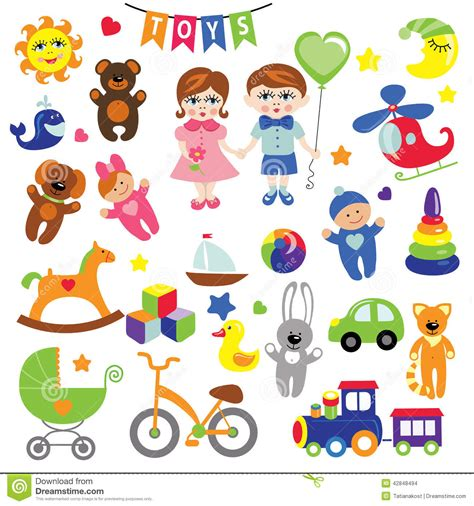 Baby Girl And Boy With Baby Toy Icons.eps Stock Vector ...