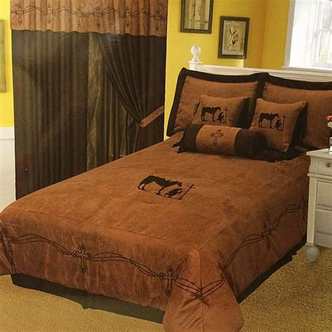western embroidery praying cowboy cross comforter 7 pc