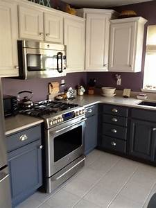 loft cottage a real life update to a builder39s beige With best brand of paint for kitchen cabinets with plum colored wall art