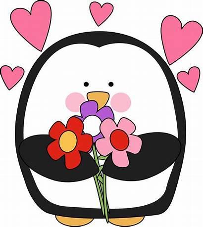 Valentine Clipart Penguin Flowers Clip