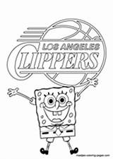 Coloring Clippers Angeles Los Nba Basketball sketch template