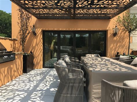 custom design  weather rooftop pergola titan cut