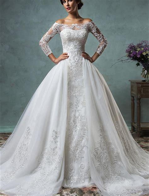 2017 New Mermaid Lace Wedding Dress With Detachable Train