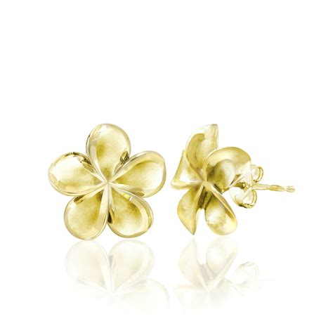 yellow gold queen plumeria stud earrings