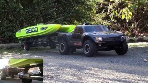 Traxxas Rc Boat Trailer by Rc Traxxas Slash Pulling Rc Boat Trailer Youtube