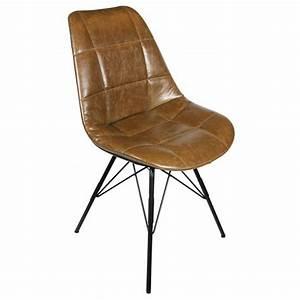 Chaise Industrielle Cuir : chaise industrielle assise dossier aspect cuir gaufre marron cbr 267c one mobilier ~ Teatrodelosmanantiales.com Idées de Décoration