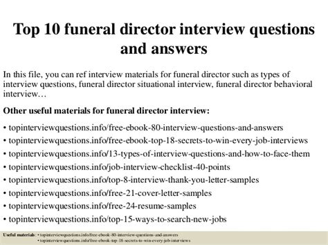 gym front desk job description top 10 funeral director interview questions and answers