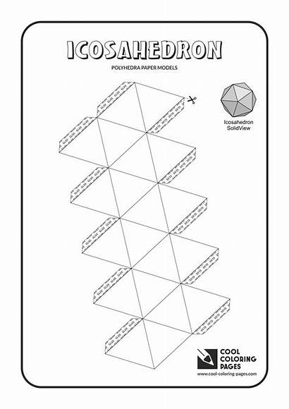 Coloring Paper Pages Cool Models Polyhedra Icosahedron