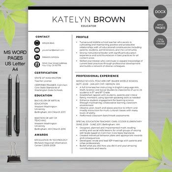 Teachers Resume Template by Resume Template For Ms Word Educator Resume