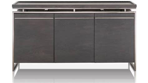 Jaffa Oak And Stainless Steel Buffet Black Zuri Furniture