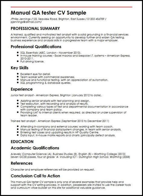 Manual Testing Resume by Manual Qa Tester Cv Sle Myperfectcv