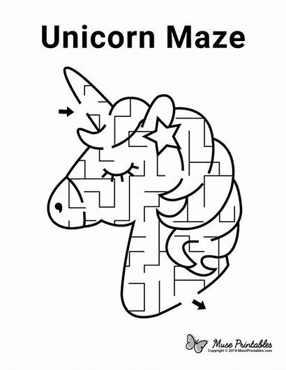 Unicorn Maze Mazes Printable Coloring Puzzles Pages
