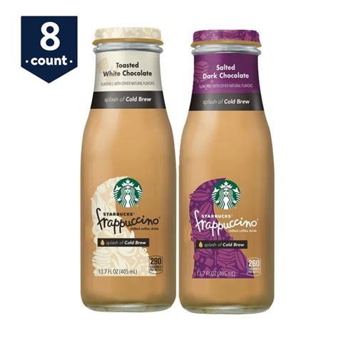 ( 4.7 ) out of 5 stars 842 ratings , based on 842 reviews current price $24.98 $ 24. Starbucks Frappuccino Crafted with Cold Brew, Chocolate Variety Pack, Salted Dark Chocolate ...