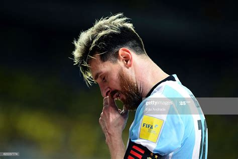 Lionel Messi of Argentina looks dejected during a match ...