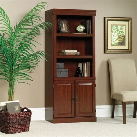 Office Bookcases With Doors by 3 Shelf Wood Bookcase In Classic Cherry 102792