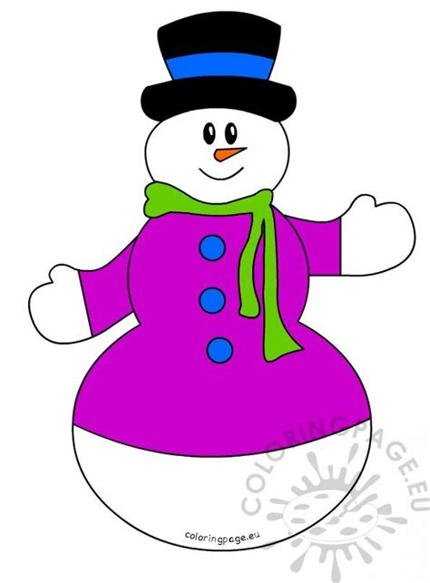 big snowman  hat  scarf coloring page